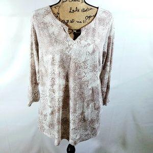 DANA BUCHMAN  ivory & tan blouse size 1X